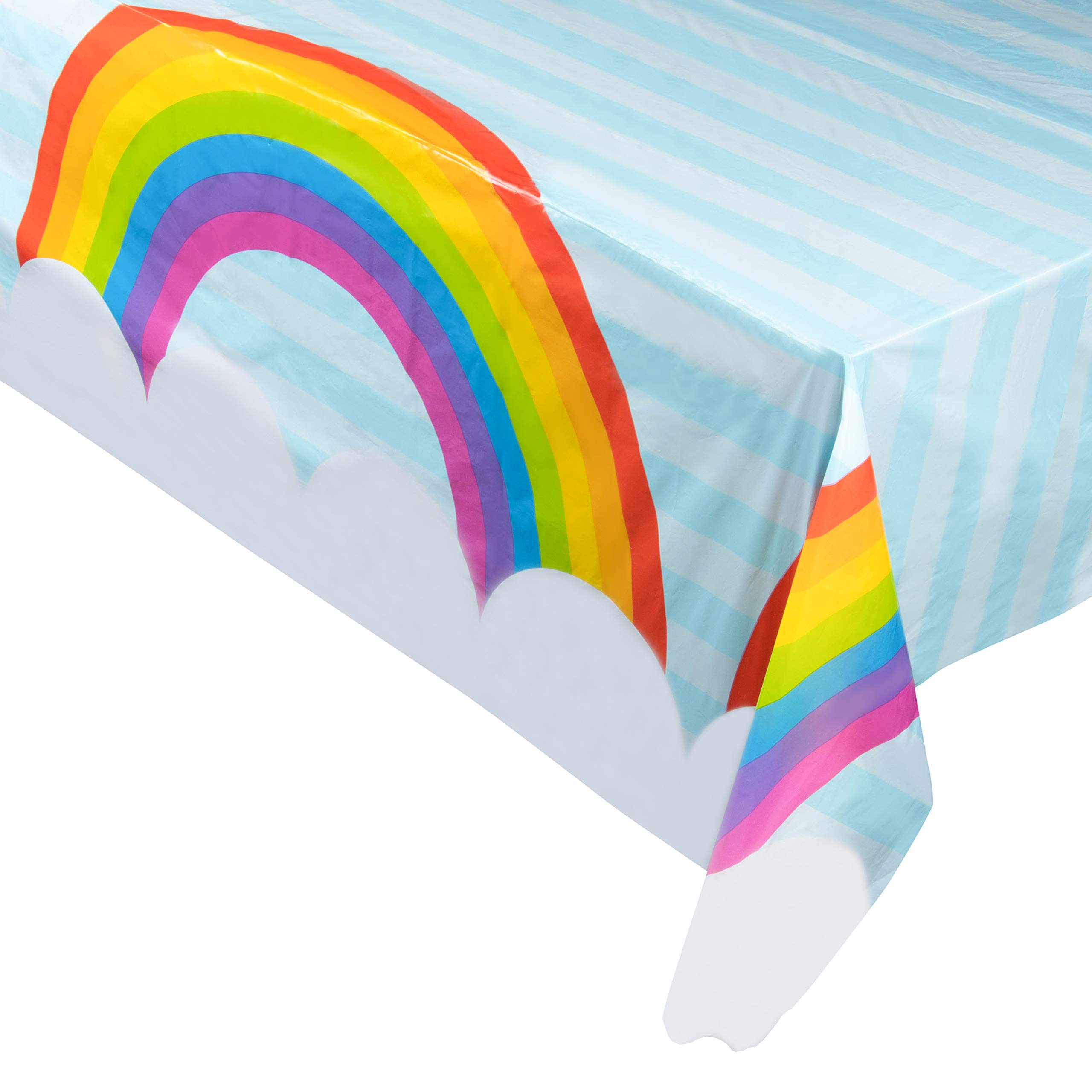 Juvale 3-Pack Rainbow Plastic Tablecloth - Rectangle 54 x 108 Inch Disposable Table Cover, Fits Up to 8-Foot Long Tables, Unicorn, Fantasy Themed Decorations, Rainbow Party Supplies, 4.5 x 9 Feet