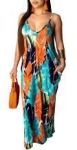 HannahZone Women's Sexy Spaghetti Strap Stripe Long Maxi Dresses Floor Length Sleeveless Plus Size Sundresses with Pockets