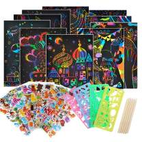 STEFORD 45pcs Scratch Art Set,24 Piece Rainbow Magic Scratch Art Paper with 5 Wooden Styluses,12 Sheets Puffy Stickers and 4 Drawing Art Stencils for Kids Black Scratch Off Art Crafts