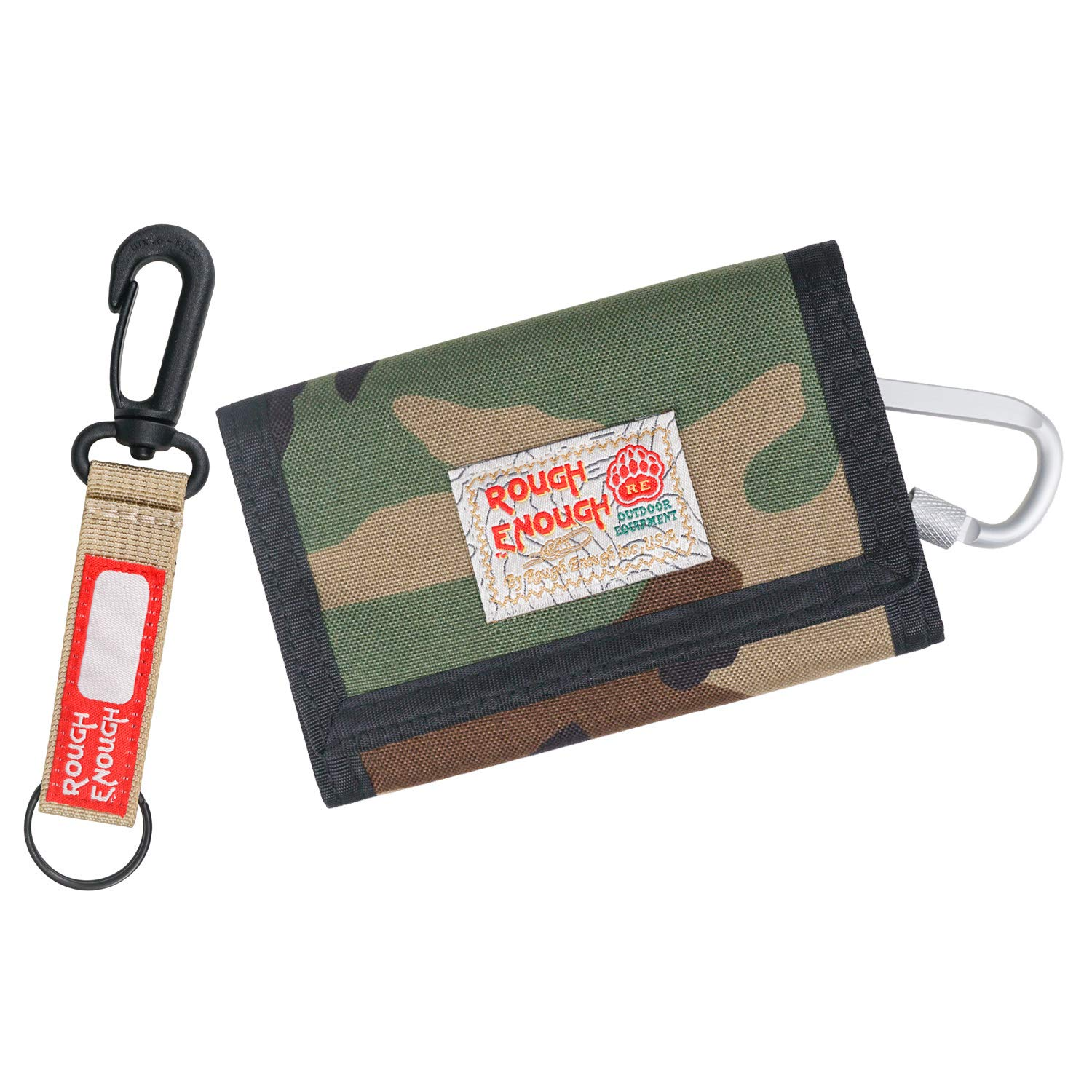 Rough Enough Camo Keychain Boys Wallet for Kids Coin Purse Credit Card Holder Case with Zipper Trifold First Wallet Pouch Organizer with Party Unique Gift Packaging Stickers Sport School Outdoor
