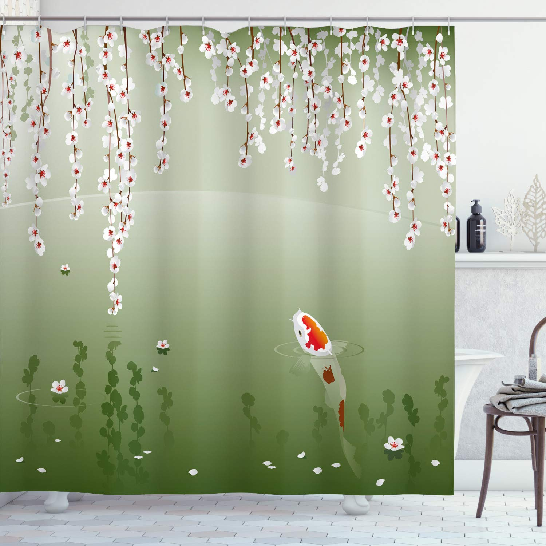 Lunarable Koi Fish Shower Curtain Japanese Koi Fish Painting Style Hanging Cherry Flowers Floating Leaves Cloth Fabric Bathroom Decor Set With Hooks 75 Long Orange White
