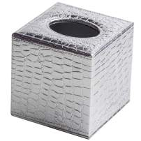 AYCQ Home Decor Roll Tissue Holders Square PU Leather Tissue Box Cover (Silver1)