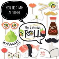 Big Dot of Happiness Let's Roll - Sushi - Japanese Party Photo Booth Props Kit - 20 Count