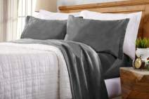 Home Fashion Designs Maya Collection Super Soft Extra Plush Fleece Sheet Set. Cozy, Warm, Durable, Smooth, Breathable Winter Sheets in Solid Colors (Twin, Charcoal)
