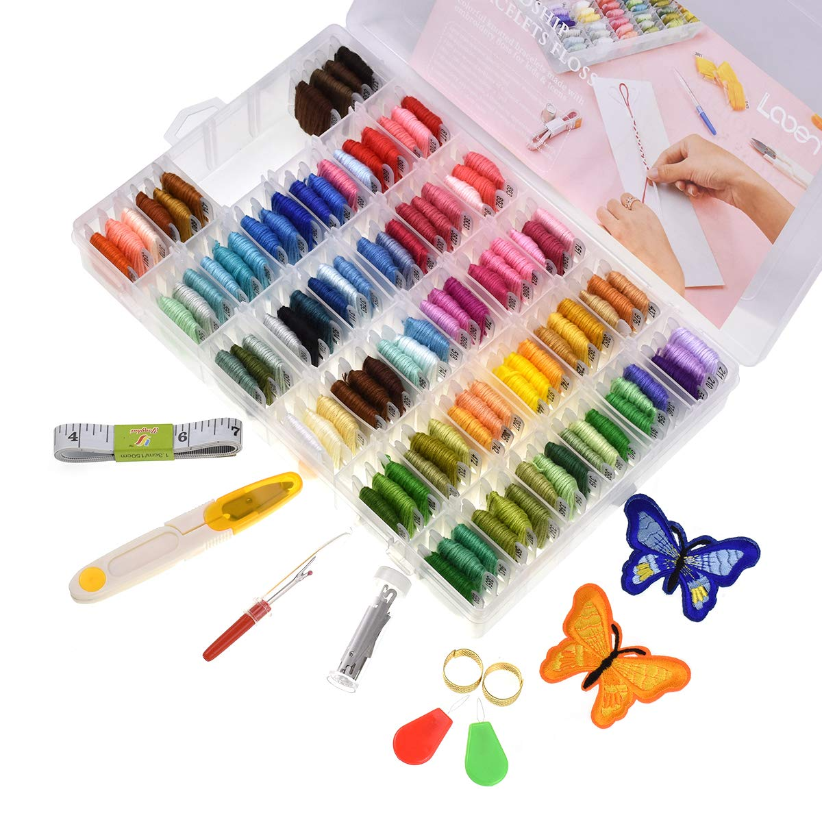 Looen 100 Colors Embroidery Floss with Organizer Storage Box Friendship Bracelet Floss - Prewound Floss Plastic Bobbins with Color Number Craft Thread Weaving String Include 41 Pcs Cross Stitch Kit
