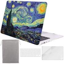 Sykiila for Older MacBook Air 13 Inch Case for 2010-2017 Old Version,Model A1369 / A1466 Hard Shell 4 in 1 Folio Case & HD Screen Protector & TPU Keyboard Cover & Sleeve - Starry Night