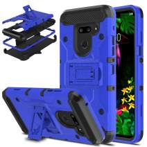 DONWELL LG G8 ThinQ Case LG G8 Case Hybrid Shockproof Heavy Duty Rugged Protective Cover with Kickstand and Belt Clip Holster Compatible for LG G8 / LG G8 ThinQ/LG G820 (Blue)