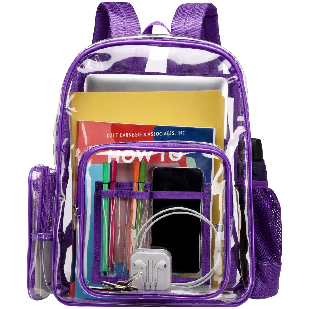Clear Backpack, iSPECLE Durable School Backpack with Laptop Compartment Clear Backpack with Reinforced Padded Straps Transparent Bag for School, Work, Security, Dark Purple