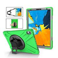 TSQ iPad Pro Case 11 inch 2018, 3 Layer Hybrid Heavy Duty Drop Resistant Protective Handle Shockproof Kid Case with Shoulder Strap+Hand Grip+360 Rotating Build-in Kickstand (Green)
