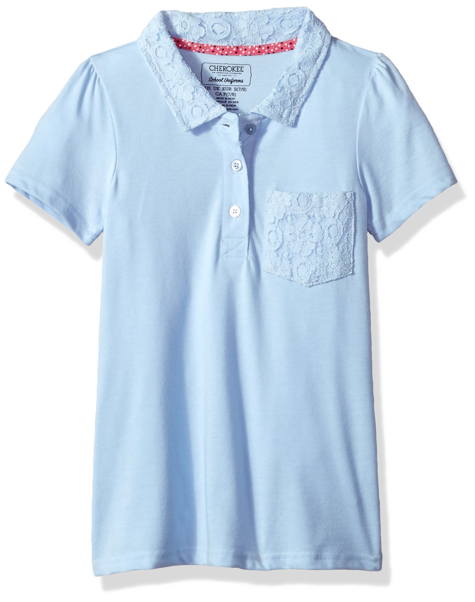 CHEROKEE Girls' Uniform-Short Sleeve Polo with Lace Pocket & Collar