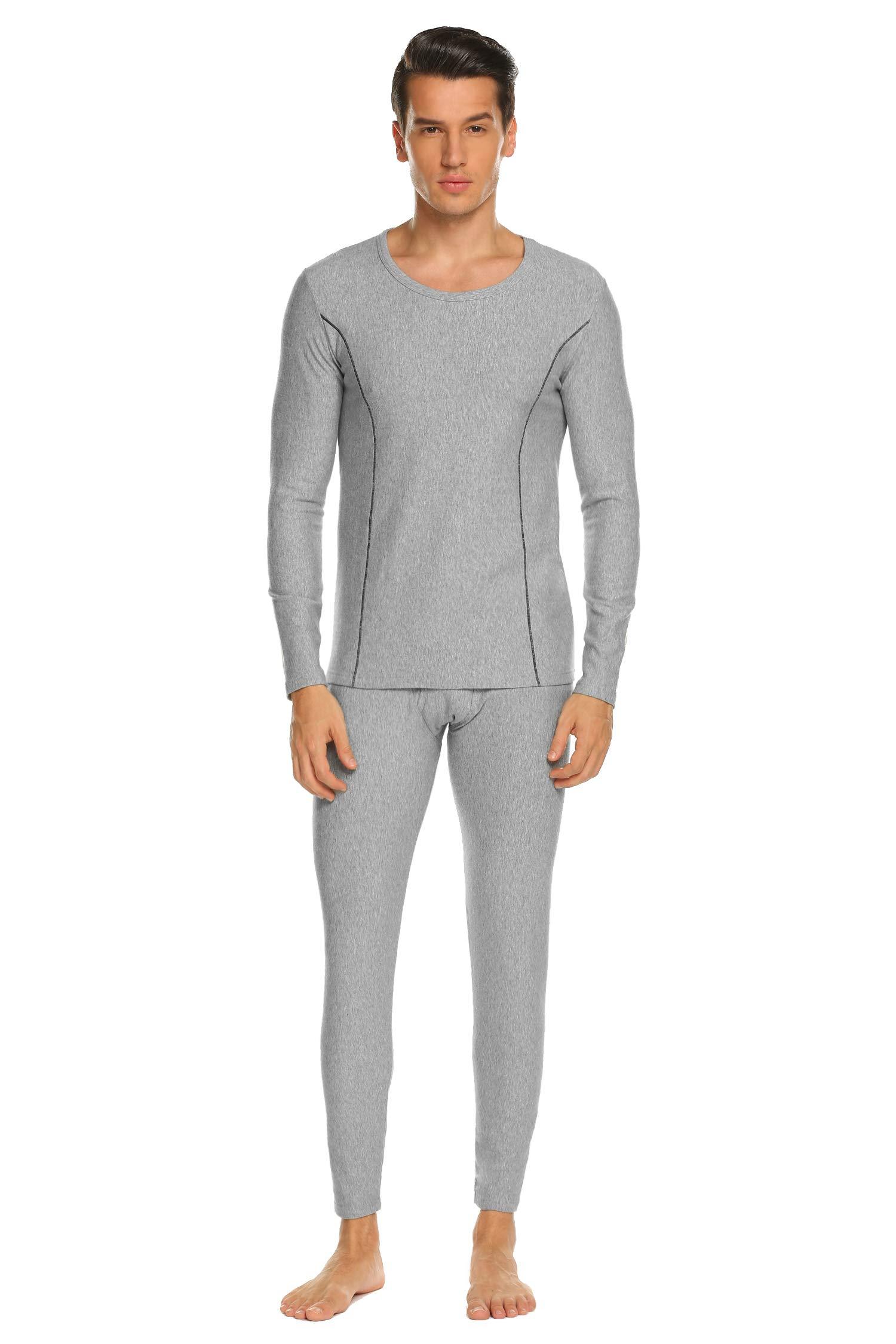 Ekouaer Long Johns for Men, Soft Cotton Shirt/Pants 2PC Lightweight Thermal Set