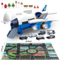 Car Toys Set with Transport Cargo Airplane and Large Play Mat, Mini Educational Vehicle Police Car Set for Kids Toddlers Boys Child Gift for 3 4 5 6 Years Old, 6 Cars, Large Plane, 11 Road Signs