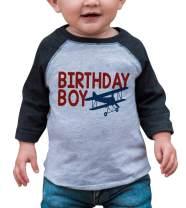 7 ate 9 Apparel Boy's Birthday Boy Biplane Airplane Grey Raglan Tee