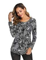 LOMON Women Tops and Blouse Long Sleeve Casual Floral T-shrt Plus Size Tunic Warm Shirt