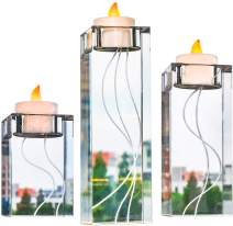 Le Sens Amazing Home Carved Large Crystal Candle Holder Set of 3(6.2/4.7/3.1 Inches H) Solid Clear Glass Decoration│Luxurious Elegant Pillar & Votive Tealight Table Centerpiece│Wedding & Home Décor
