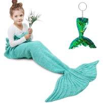 AmyHomie Mermaid Tail Blanket, Mermaid Blanket Adult Mermaid Tail Blanket, Crotchet Kids Mermaid Tail Blanket for Girls (Teal, Kids)