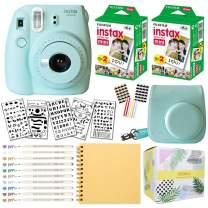 Fujifilm Instax Mini 9 Instant Camera (ICE Blue) + Fuji INSTAX Film (40 Sheets) + Bundle with: Groovy Camera Case + Scrapbook Photo Album + Stencils + Metallic Markers + Photo Corners
