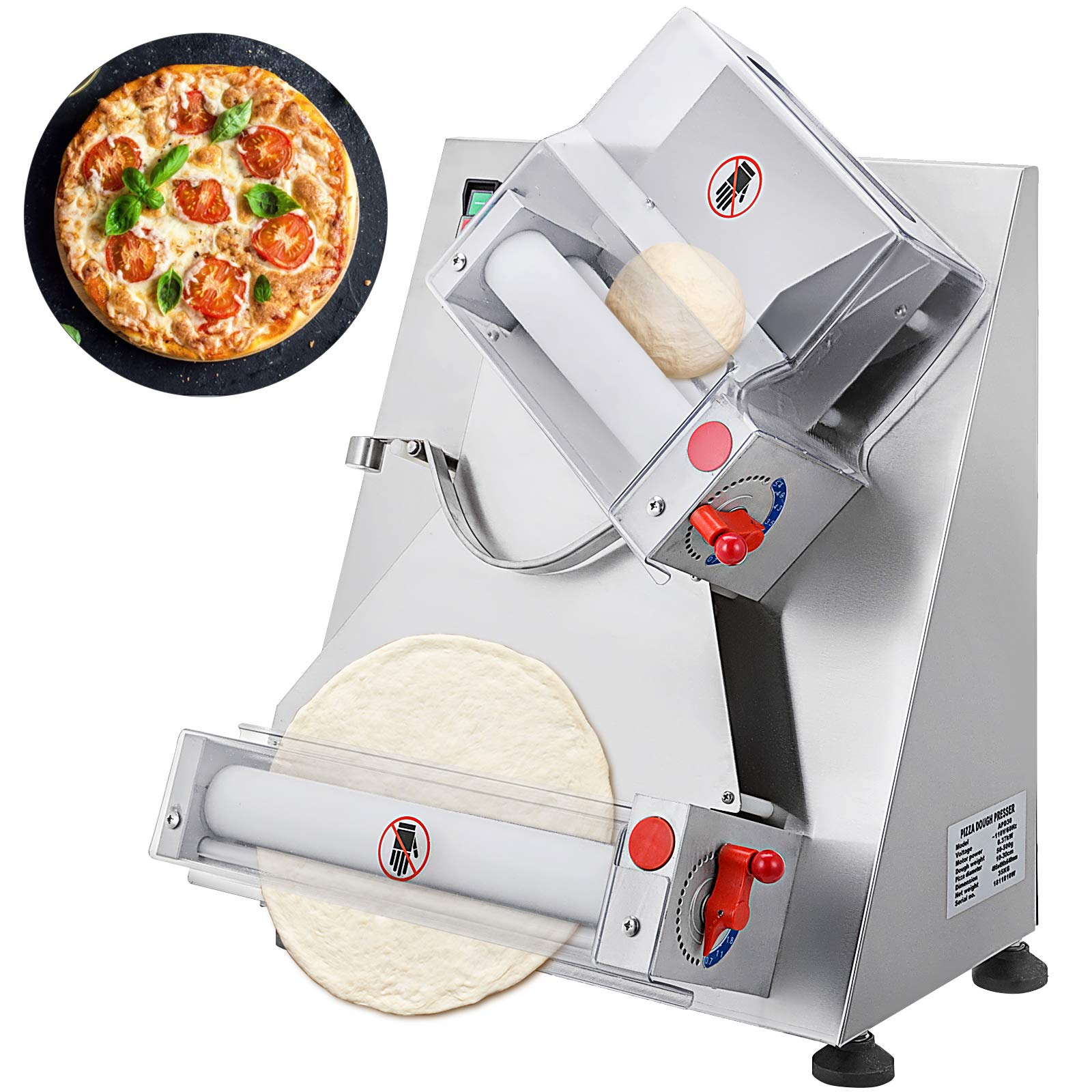 VEVOR Commercial Dough Roller Sheeter 370W Automatically Suitable for Noodle Pizza Bread and Pasta Maker Equipment, 11.8 inch, Silver