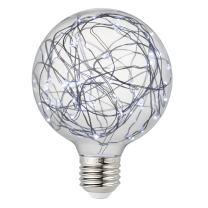 Judy Lighting - G95 LED Globe Fairy Light Bulb for Ambient Night Lighting, E26 Standard Medium Base Edison with Starry Decorative String Lights for Bathroom, Bedroom, Living Room (Cold White)