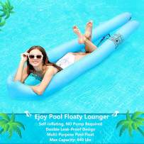 EJOY Pool Floats for Adults Inflatable Lounger Portable Floating Lounger Chair Water Hammock for Summer Swimming Pool Activity [Self Inflating, No Pump Needed] Compact Carry Bag Included Blue