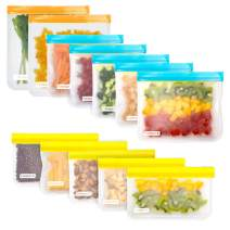 Reusable Storage Bags - 12 Pack Leakproof Freezer Bag(2 Reusable Gallon Bags + 5 Leakproof Reusable Sandwich Bags + 5 Reusable Snack Bags) EXTRA THICK Ziplock Lunch Bags for Food Storage