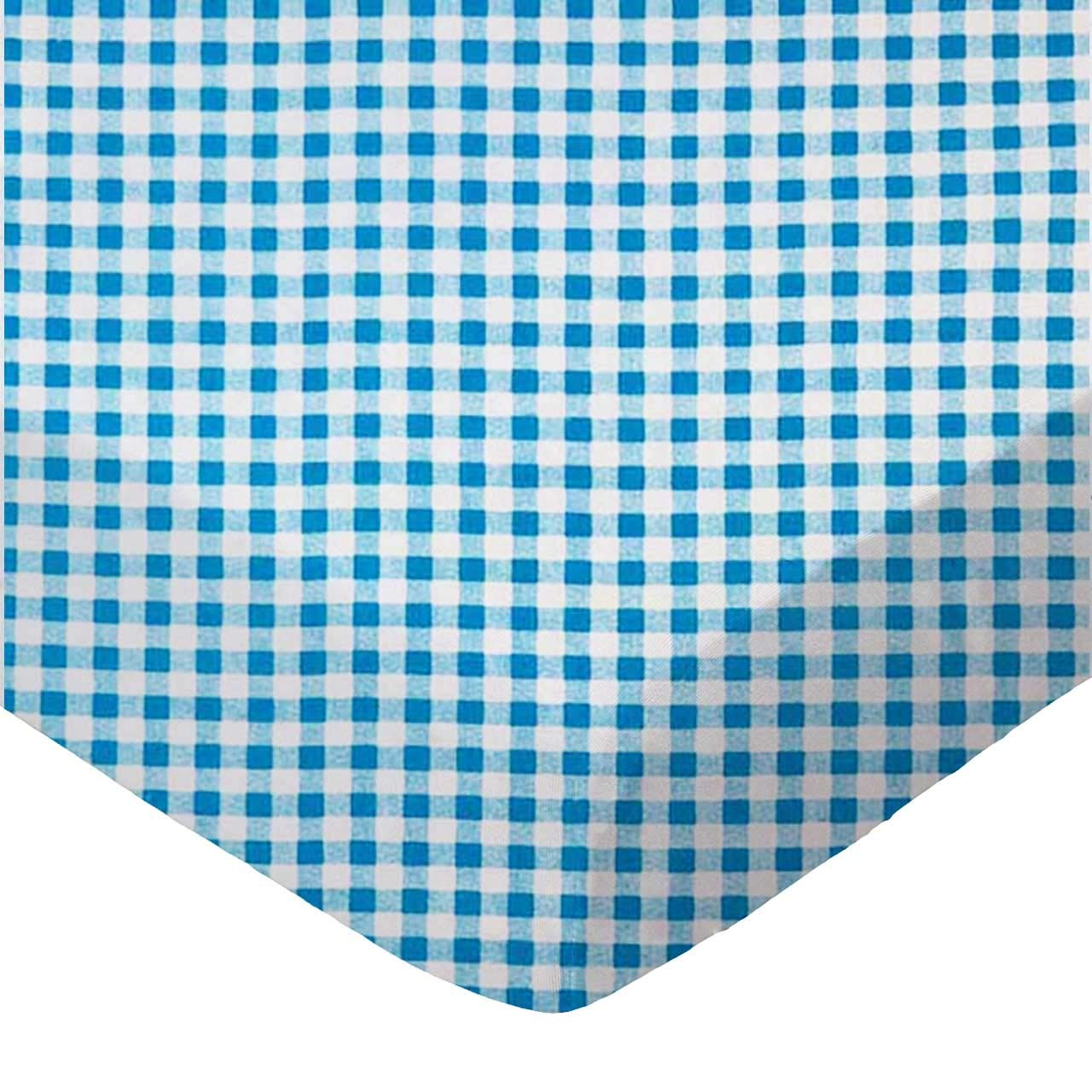 SheetWorld Fitted Portable / Mini Crib Sheet - Turquoise Gingham Check - Made In USA
