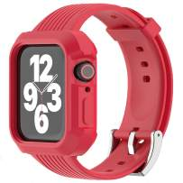 JIEBAO Compatible with Apple Watch Bands Women/Men 38mm 40mm 42mm 44mm, Compatible for Iwatch Band with Case Series 6/5/4/3/2/1/SE Sport Loop, Rugged Protective Case and Band (Red-38mm/40mm)