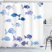 "Ambesonne Animal Shower Curtain, Little Fishes Watercolors Ocean Underwater Life Marine Theme Artwork, Cloth Fabric Bathroom Decor Set with Hooks, 75"" Long, Baby Blue"