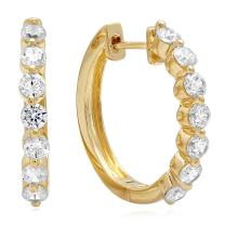 0.80 CT 7-STONE Hoop Solitaire BRILLIANT ROUND CUT CZ EARRINGS 14K Yellow GOLD