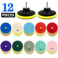 Tanzfrosch 3 inch Diamond Polishing Pads Set Wet/Dry Polishing Kit 10pcs 50#-3000# Grit Pads with 2pcs Hook and Loop Backer Pads for Granite Stone Concrete Marble Floor Grinder or Polisher (12 Pack)