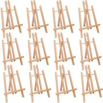 """MEEDEN 12 Pcs 11.8"""" Tall Tabletop Easel - A-Frame Small Solid Beech Wood Easel Painting Display Easel, Hold Canvas Art up to 12"""" High"""