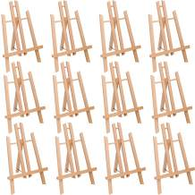 "MEEDEN 12 Pcs 11.8"" Tall Tabletop Easel - A-Frame Small Solid Beech Wood Easel Painting Display Easel, Hold Canvas Art up to 12"" High"