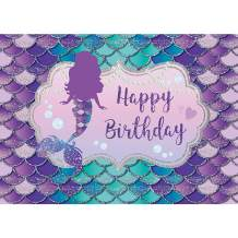 Maijoeyy 7x5ft Mermaid Backdrop for Birthday Party Under The Sea Girls Birthday Party Decoration Mermaid Party Backdrops Blue Purple Scales Photography Background