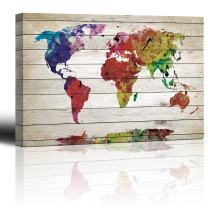 "wall26 - Watercolor World Map Rustic Painting - Canvas Art Wall Decor - 12""x18"""