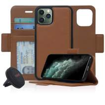 Navor Universal car Mount & Detachable Magnetic Wallet Case with RFID Protection Compatible for iPhone 11 Pro [5.8 inch] [Vajio Series] - Brown [IP11PROVJKTBR]