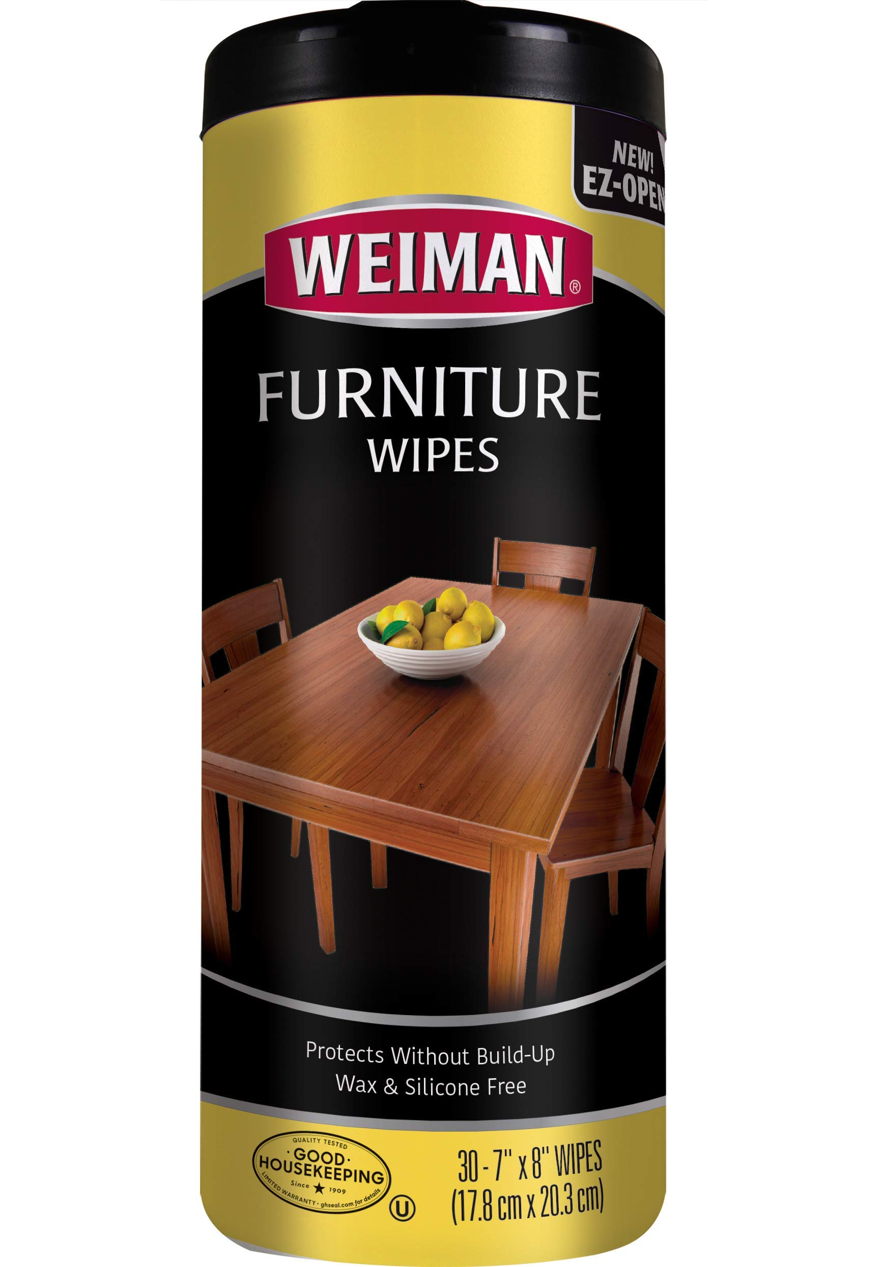 Weiman Wood Cleaner and Polish Wipes - Non Toxic For Furniture To Beautify & Protect, No Build-Up, Contains UVX-15, Pleasant Scent, Surface Safe - 30 Count
