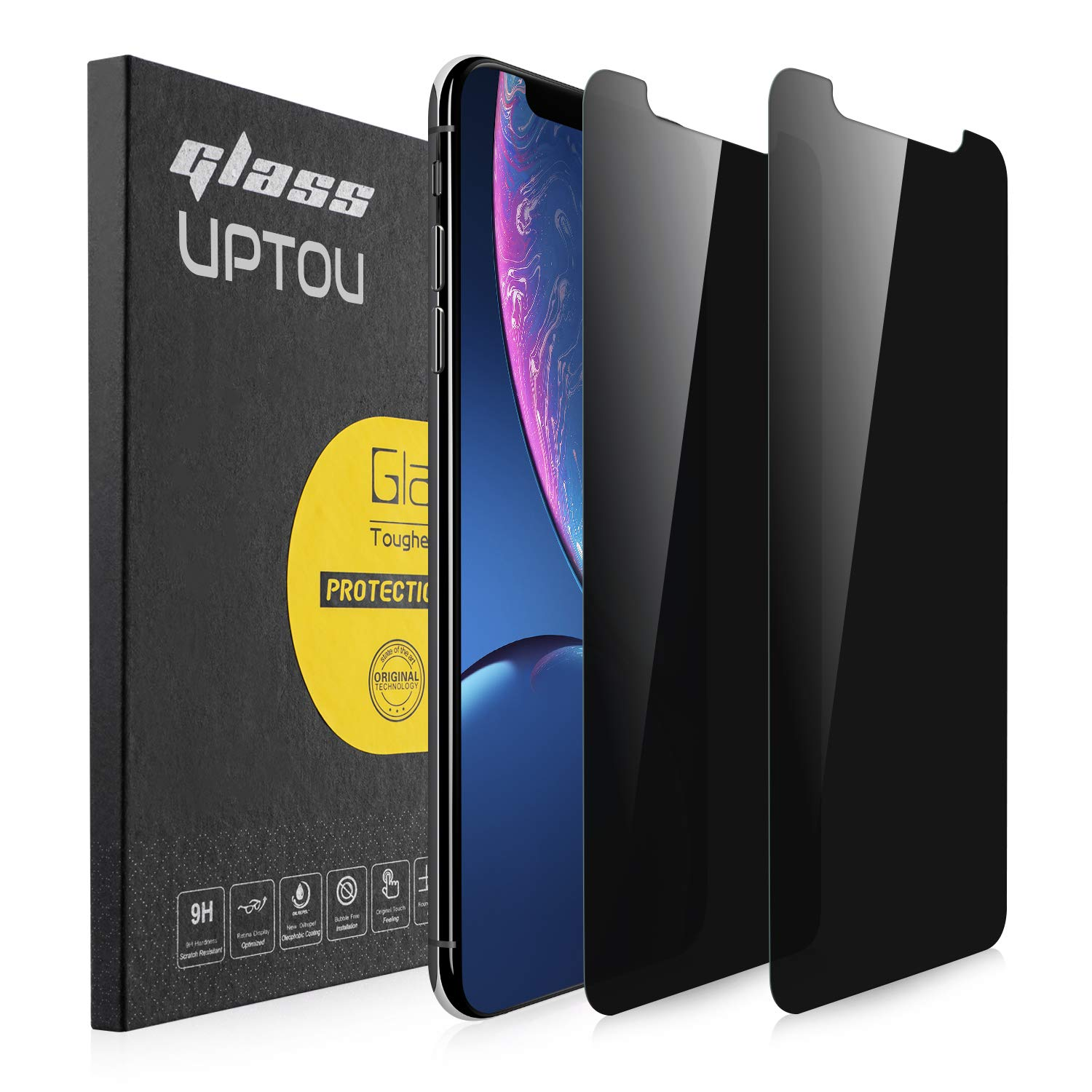 UPTOU Privacy Screen Protector for iPhone 11,iPhone XR,Anti Spy Tempered Glass,Anti Scratch,Case Friendly[6.1-Inch,2-Pack]