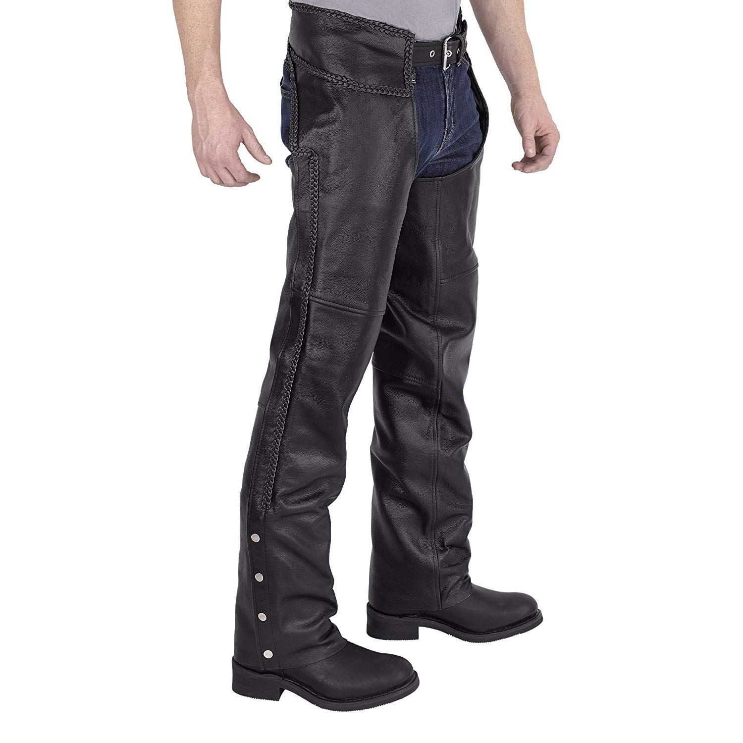 Viking Cycle Men's Braided Motorcycle Leather Chaps