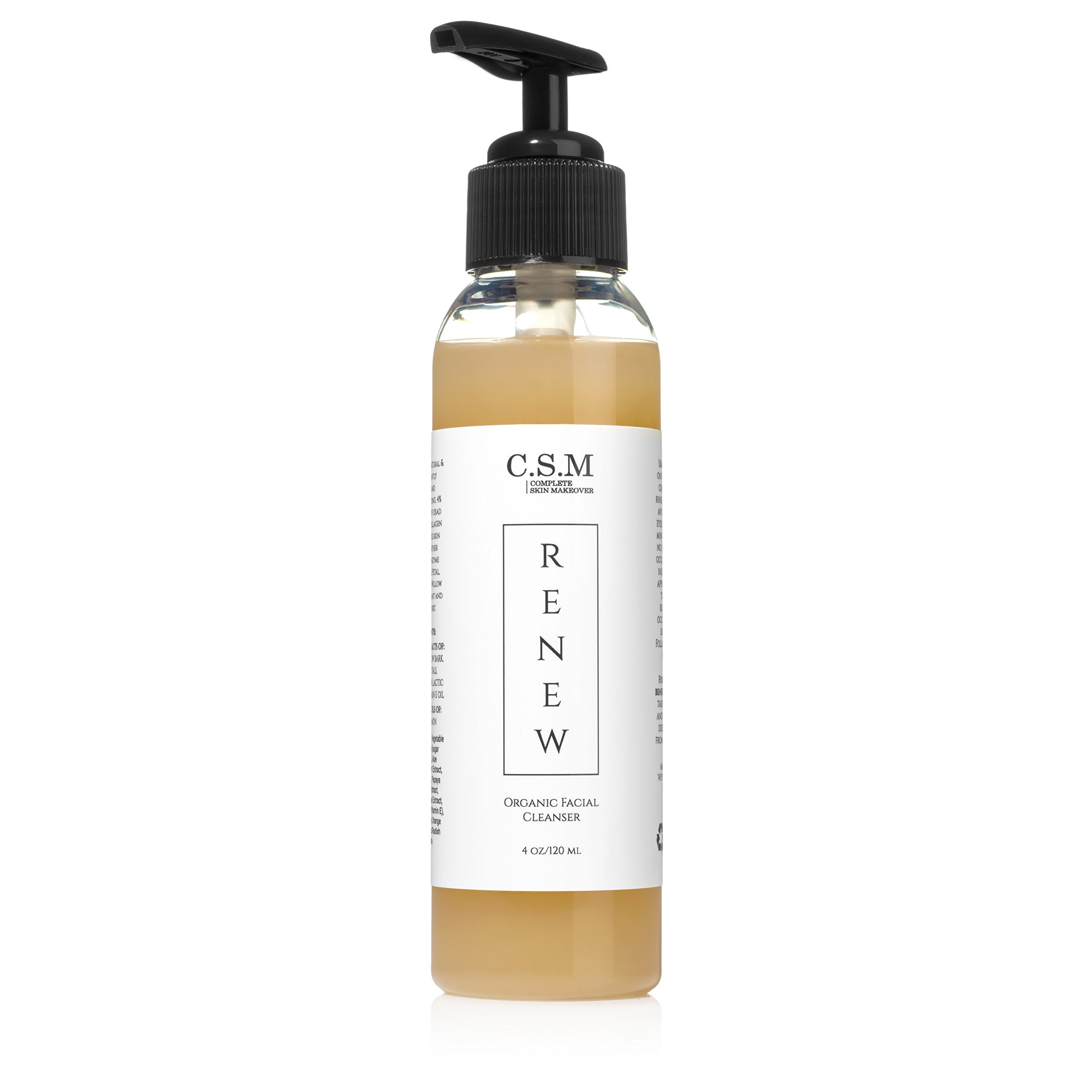 CSM Organic Face Wash for Gently Exfoliating and Clarifying Acne Prone and Dry Skin, Natural Face Cleanser with Essential Oils for Reducing Pores, RENEW Antiaging Organic Facial Wash Made in the USA