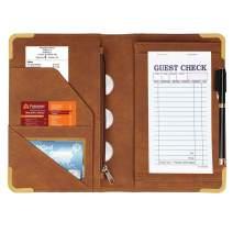 CoBak Server Book - Waitress Book Organizer with Zipper Pouch for Restaurant Waitstaff, 5 Large Pockets with Pen Holder, Brown