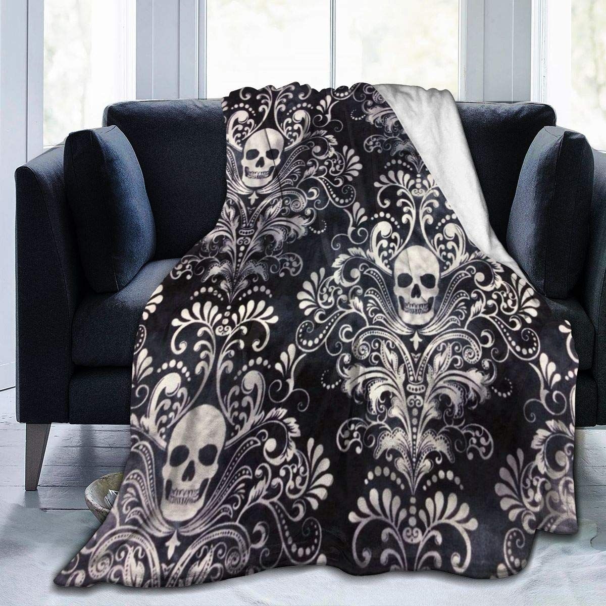 Fleece Plush Throw Blanket Comforter Gothic Skull Damask Scary Halloween Faux Fur Soft Cozy Warm Fluffy Lightweight Microfiber Fuzzy Twin Blanket for Bed Couch Sofa Chair Fall Nap Travel Camp Picnic C