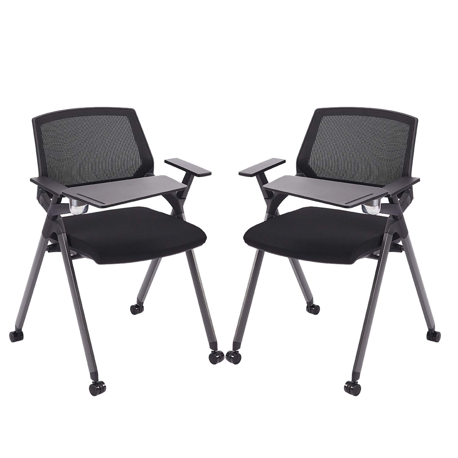 CLATINA Reception Stacking Chair Mesh Guest Nesting with Tablet and Caster Wheels for Office School Training Conference Waiting Room BIFMA Certified Black 2 Pack