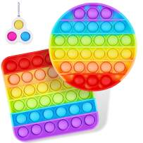 Rainbow Pop It Fidget Toy,Push Mini Pop Bubble Fidget Sensory Toy,Stress Relief and Anti-Anxiety Tools Game for Kids and Adults,Square,Circle