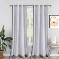 LORDTEX Color Block Blackout Curtains for Kids Room -Color Bordered Thermal Insulated Curtains Noise Reducing Window Drapes for Boys and Girls Bedroom, 52 x 95 Inches Long, Light Grey, Set of 2 Panels