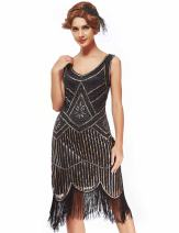 uniq sense xs-4xl Women's Roaring 20s V-Neck Gatsby Dresses- Vintage Inpired Sequin Beaded Flapper Dresses