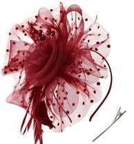 SAFERIN Fascinator Hair Clip Hat Bowler Feather Flower Veil Wedding Party Hat Tea Hat