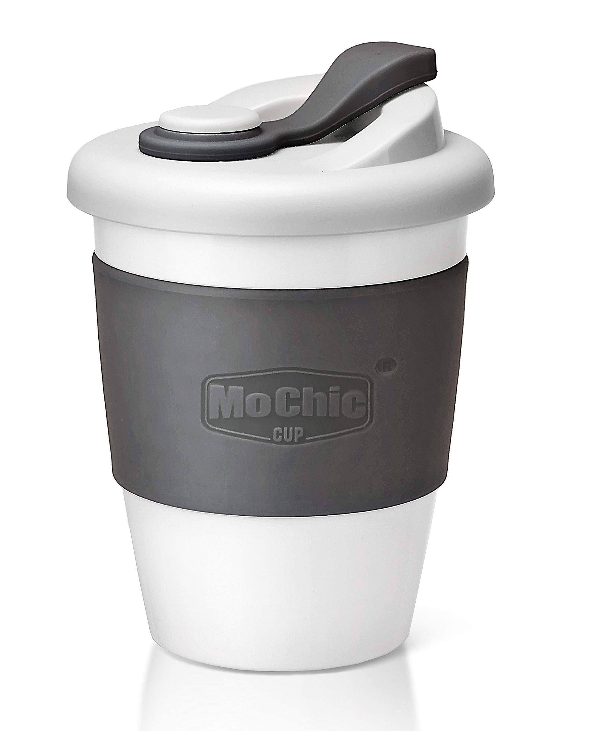 MOCHIC CUP Reusable PLA Coffee Cup with PP Lid and Silicone Sleeve Durable Tea Mug BPA Free Portable Tumbler for Work and Home (Charcoal Gray,12oz/340ml)