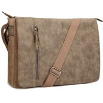 Laptop Messenger Bag 16.5 inch for Men and Women, Tocode Vintage Canvas Waterproof PU Leather Large Crossbody Shoulder Bag Computer Laptop Bag, Messenger Bag for Business School
