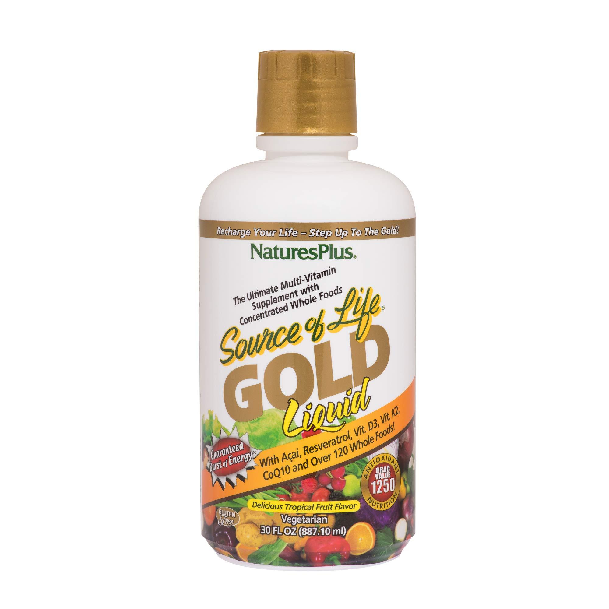 NaturesPlus Source of Life Gold Liquid - 30 fl oz - Tropical Fruit Flavor - Daily High Potency, Organic Whole Food Multivitamin, Prebiotic Complex - Vegetarian, Gluten-Free - 30 Servings