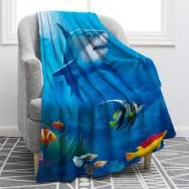 "Jekeno Cartoon Shark Blanket Underwater Fish Coral Print Throw Blanket Soft Warm for Boy Kids Gift Travelling Camping 50""x60"""